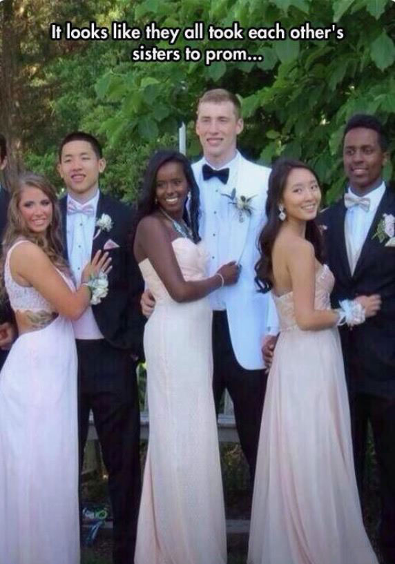 it looks like they all took each other's sister to prom
