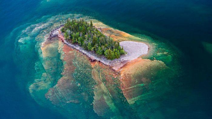 breathtaking view of a tiny ridged island