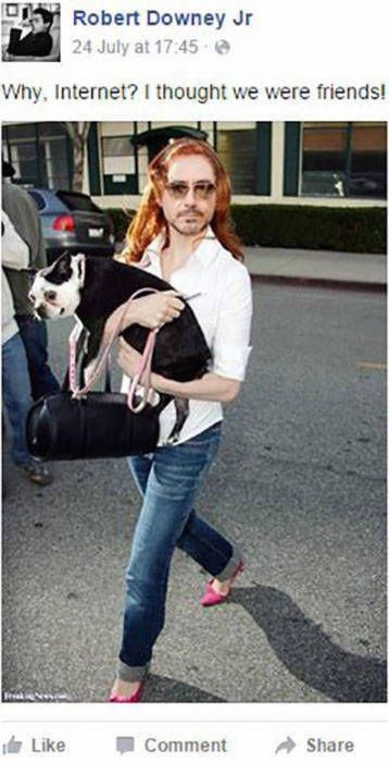 why internet i thought we were friends, robert downey jr as a woman