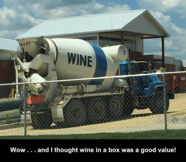 wow and i thought wine in a box was good value, cement mixer truck with wine written on the side