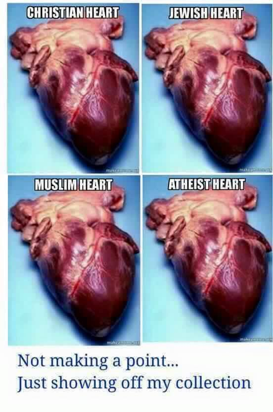 just showing off my collection, christian heart, jewish heart, muslim heart, atheist heart, not making a point