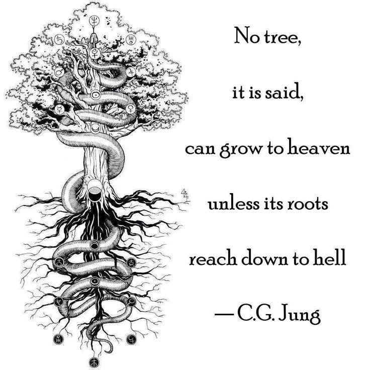 no tree can grow to heaven unless its roots reach down to hell
