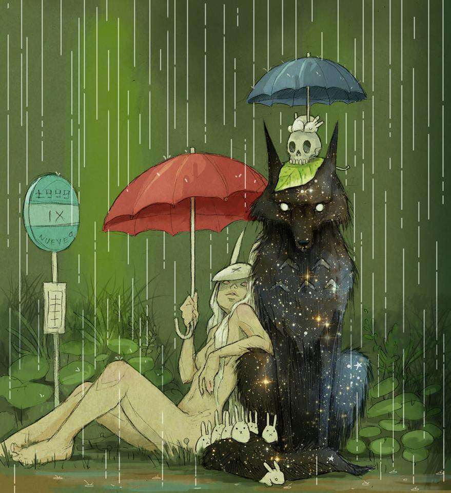 space wolf and sexy bunny lady chill in the rain