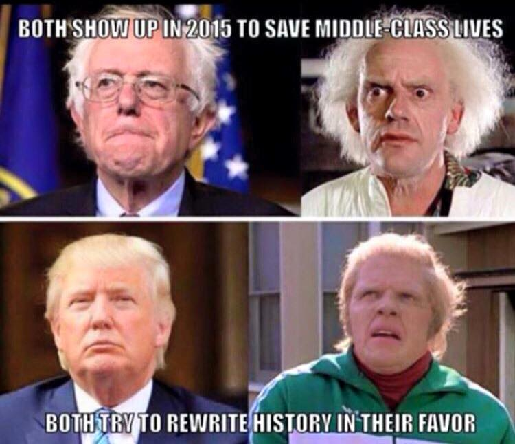 both show up in 2015 to save middle class lives, both try to rewrite history in their favour, back to the future, bernie sanders, donald trump