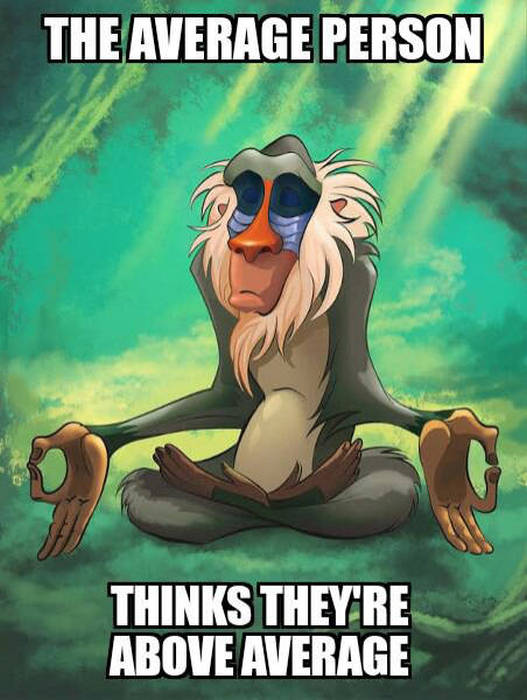 the average person thinks they're above average, rafiki meme