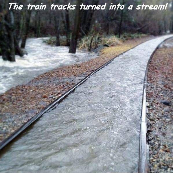 the train tracks turned into a stream
