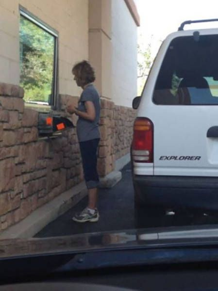 woman doesn't understand the concept of a drive through