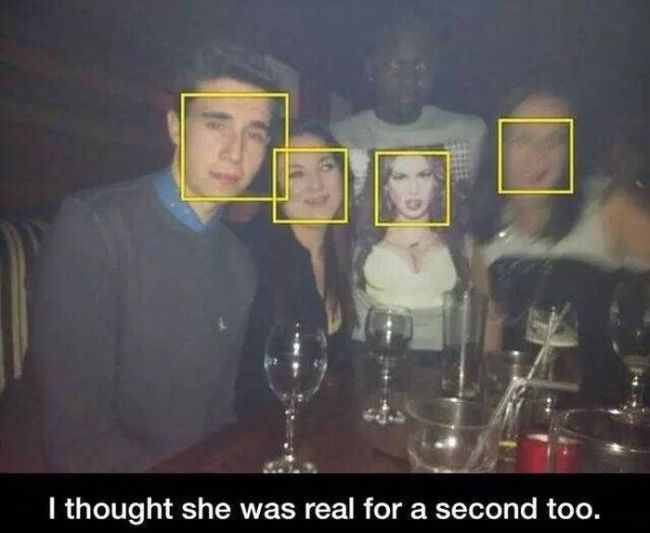 i thought she was real for a second too, t-shirt, face detection