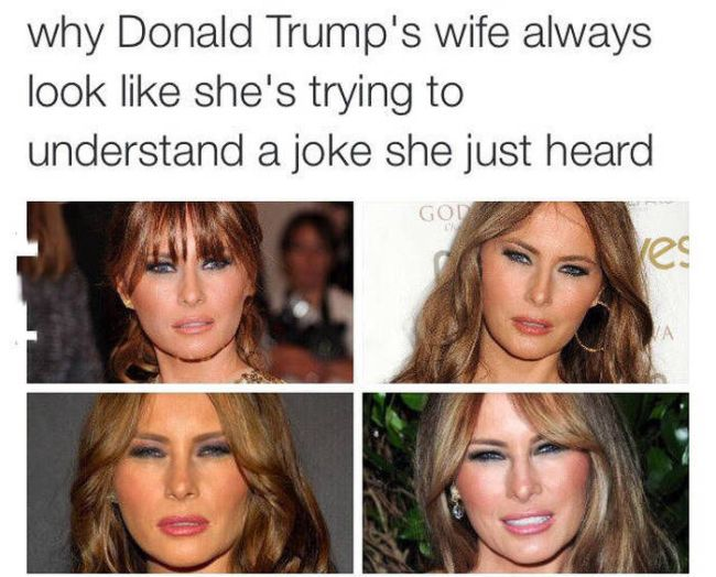 why donald trump's wife always look like she's trying to understand a joke she just heard