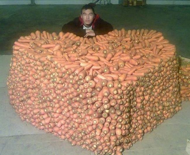 when you really love carrots, stack of carrots in the shape of a heart