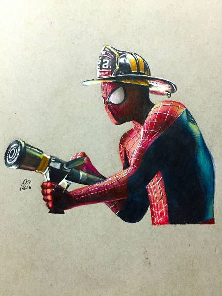 spiderman as a firefighter, fan art