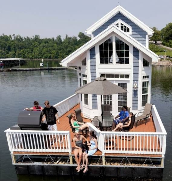 this raft gives new meaning to the term boat house