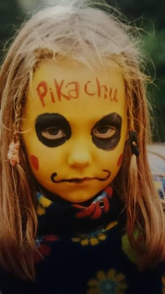 little girl not happy about failed pikachu costume