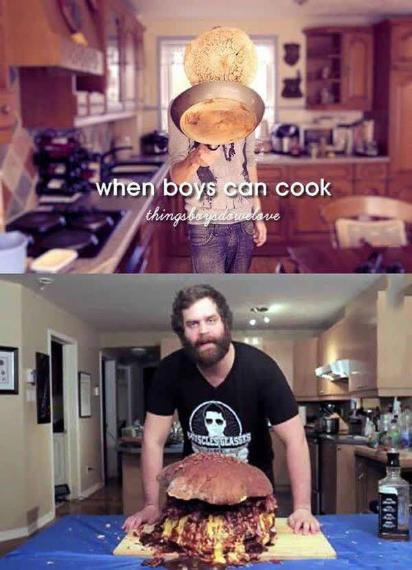 when boys can cook, thingsboysdowelove, epic meal time
