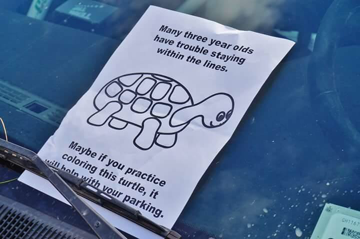 many three year olds have trouble staying within the lines, maybe if you practice colouring this turtle it will help with your parking