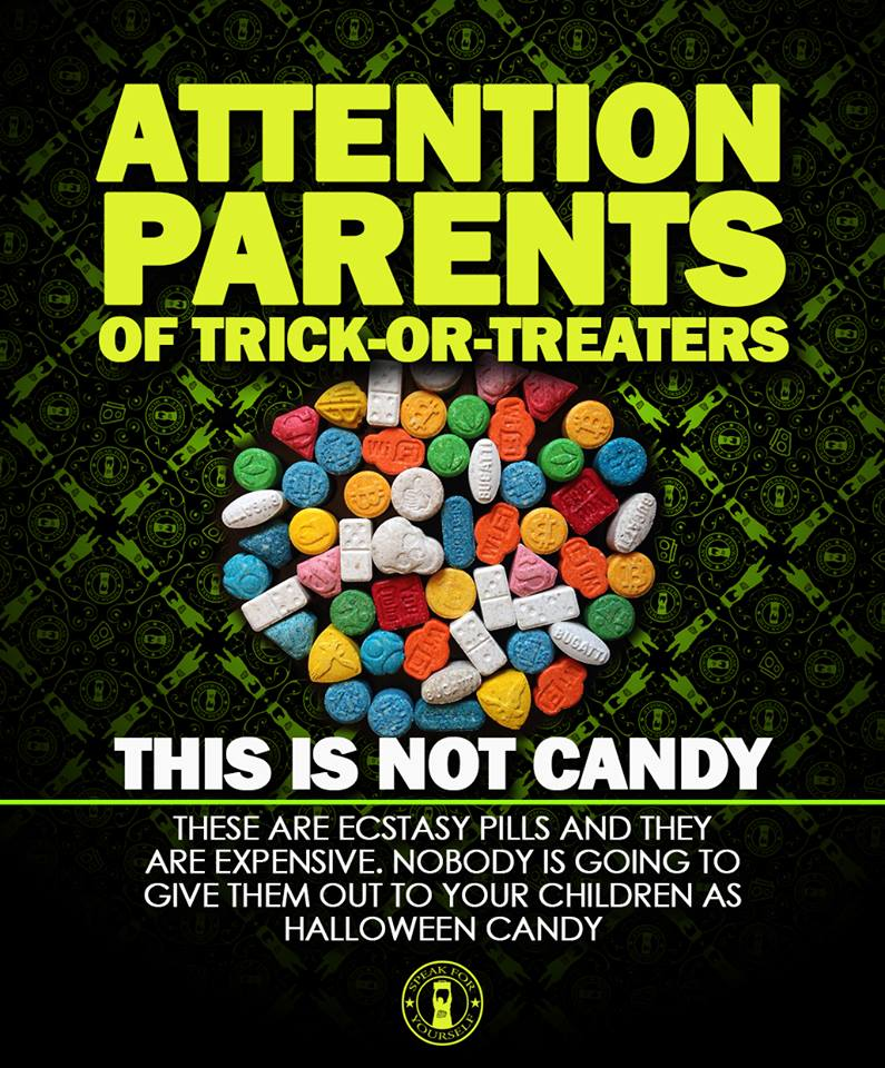 attention parents of trick or treaters, this is not candy, these are ecstasy pills and they are expensive, nobody is going to give them to your children as halloween candy