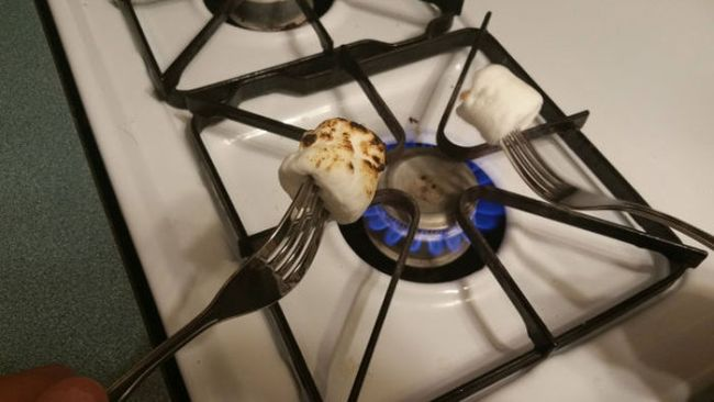 roasting marshmallows over a gas stove top