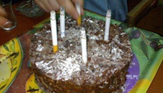 cigarettes as candles on a birthday cake, fail, disgusting