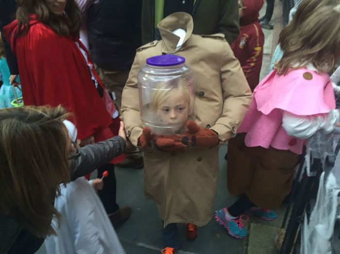 really well done halloween costume, head in a bottle