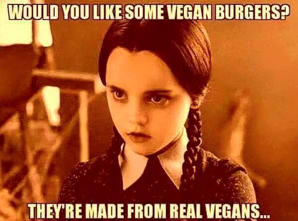 would you like some vegan burgers?, they are made from real vegans