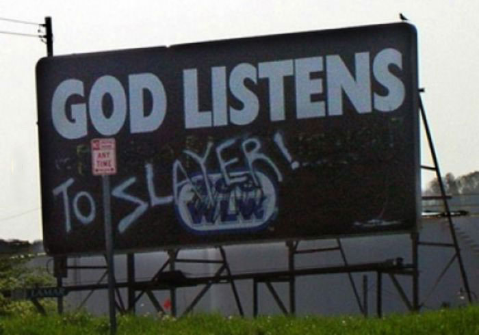 god listens to slayer, billboard hacked irl