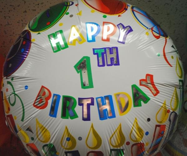 happy 1th birthday balloon, fail