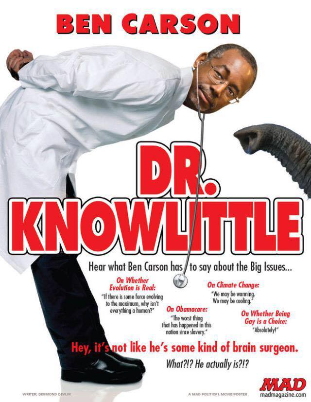 ben carson in dr knowlittle, movie poster parody
