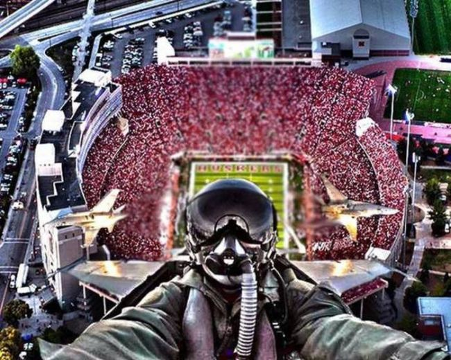 selfie from a jet over a sports stadium