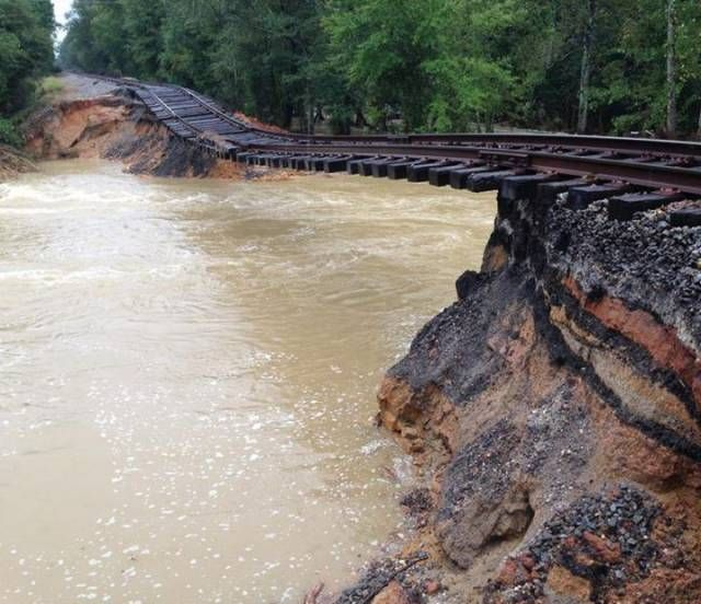 worst train tracks ever, river beneath tracks, landslide