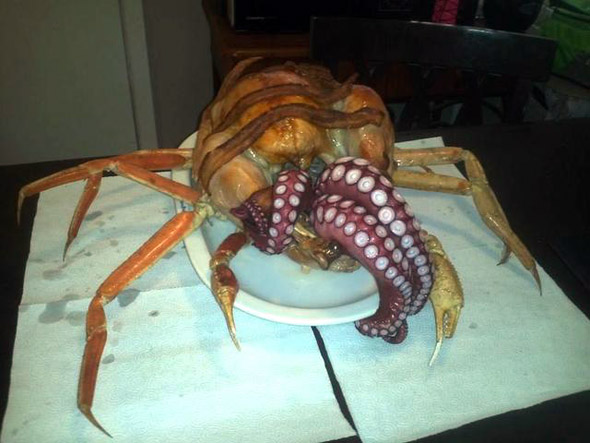 behold an octopus-stuffed turkey with crab legs called the cthurkey