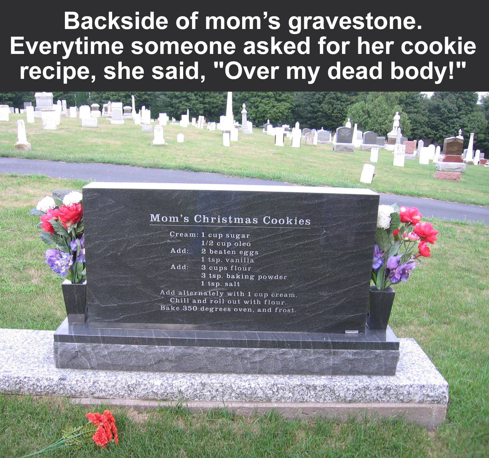 mom's christmas cookie recipe over her dead body