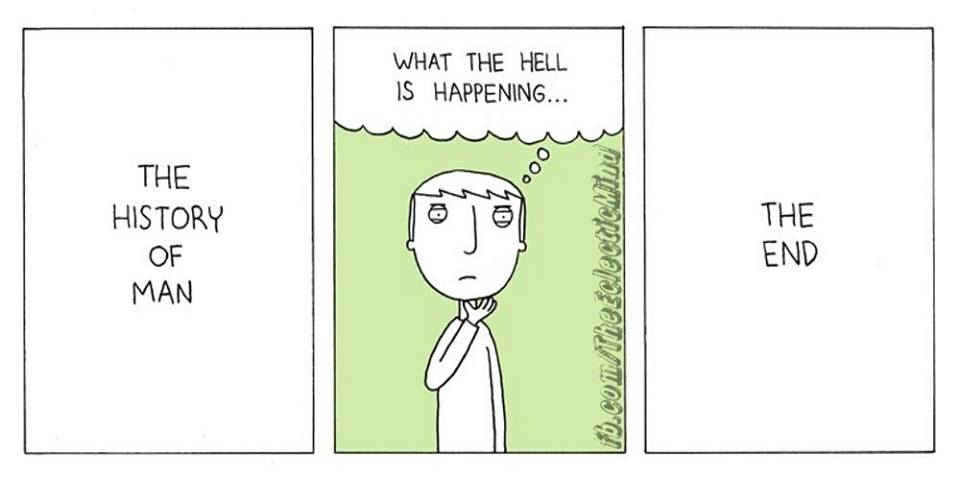 the history of man, what the hell is happening, the end, comic