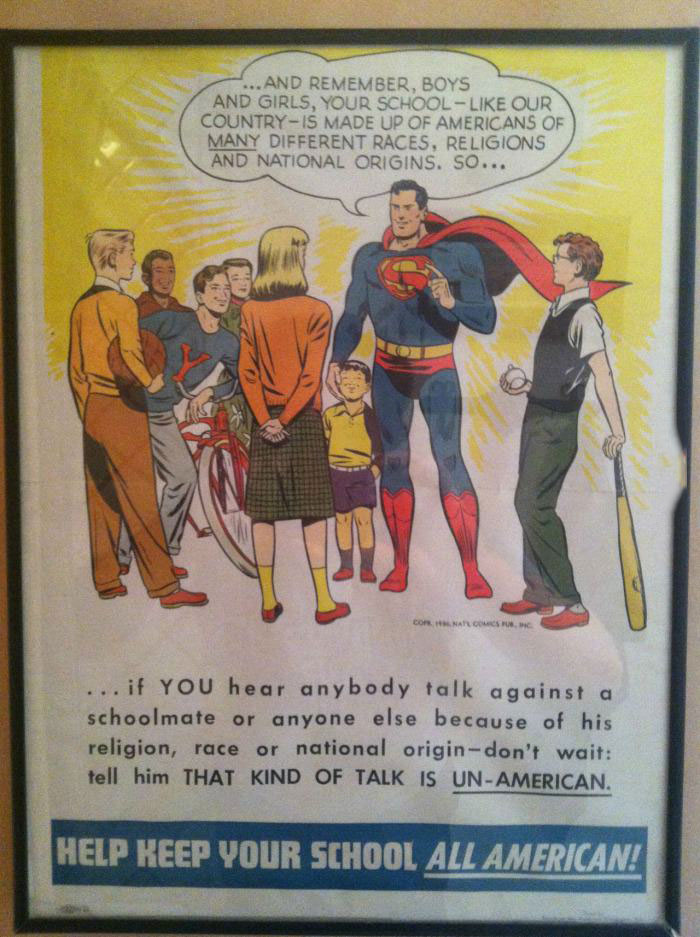 help keep your school all american, superman on diversity from the 1950's
