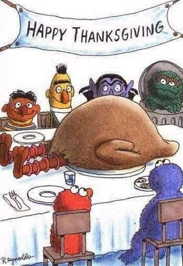 happy thanksgiving from sesame street, big bird as the turkey
