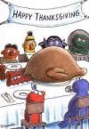 happy thanksgiving from sesame street, big bird as the turkey