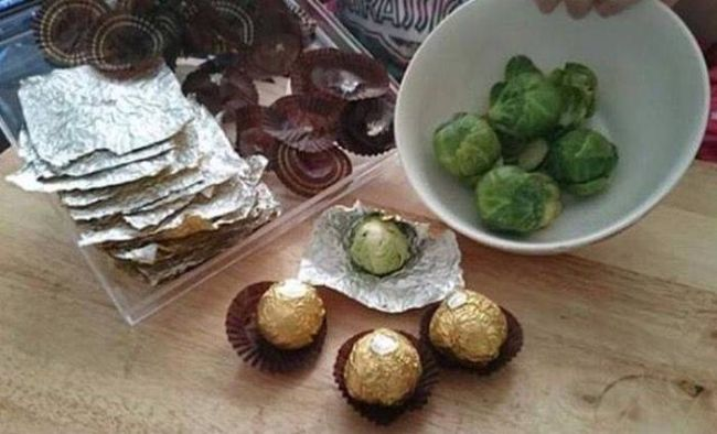 how to troll your whole family this holiday season, brussels sprouts wrapped in ferrero rocher warppers