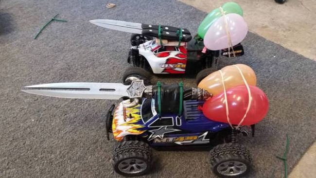 real life mariokart battles with rc cars sporting knives and balloons