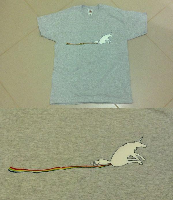 unicorn dragging a rainbow across your t-shirt