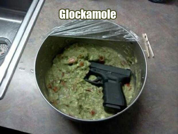 glockamole, guacamole, a gun in avocado dip, wordplay, meme