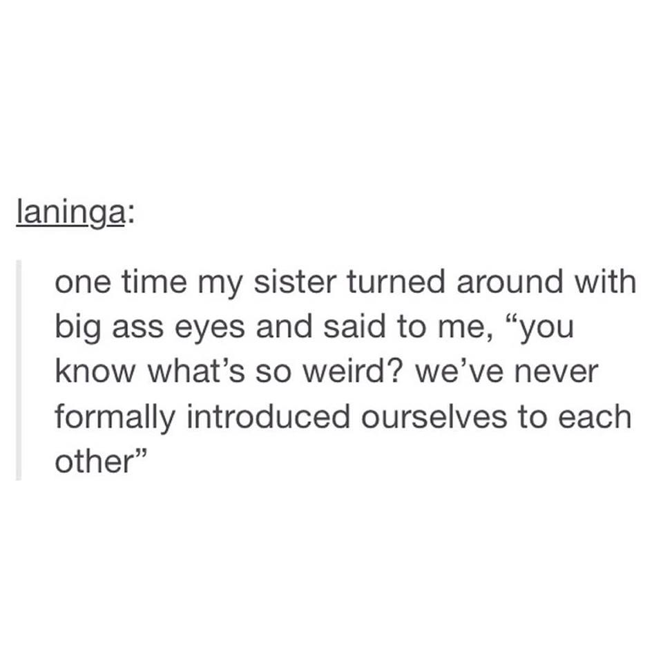 one time my sister turned around with big ass eyes and said to me, you know what's so weird, we've never formally introduced ourselves to each other