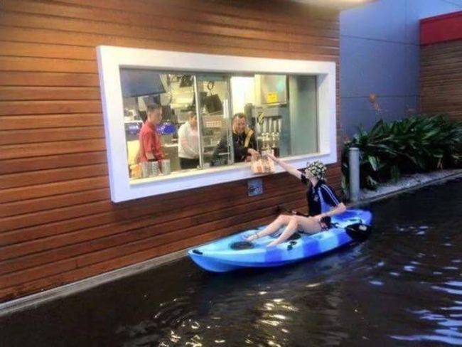 kayaking to the drive through, wtf