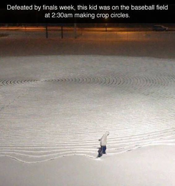 defeated by finals week, this kid was on the baseball field at 2:30am making crop circles