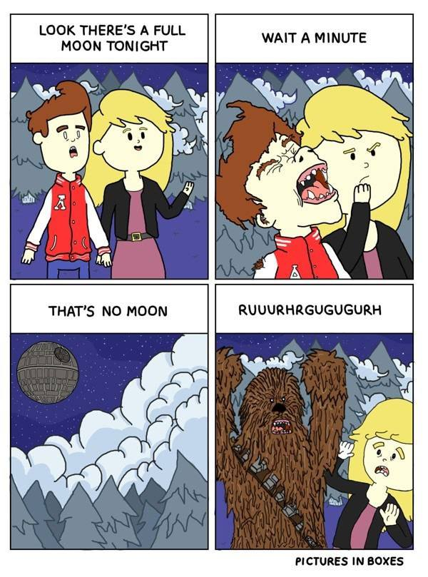 look there's a full moon tonight, wait a minute, that's no moon, kid turns into chewbacca instead of wolf, death star, comic