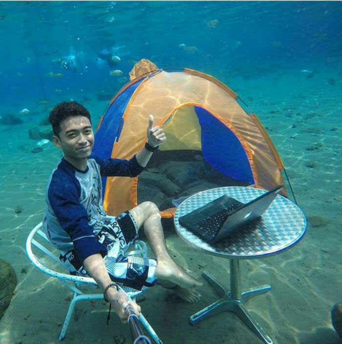when you live in a floor prone area, underwater tent