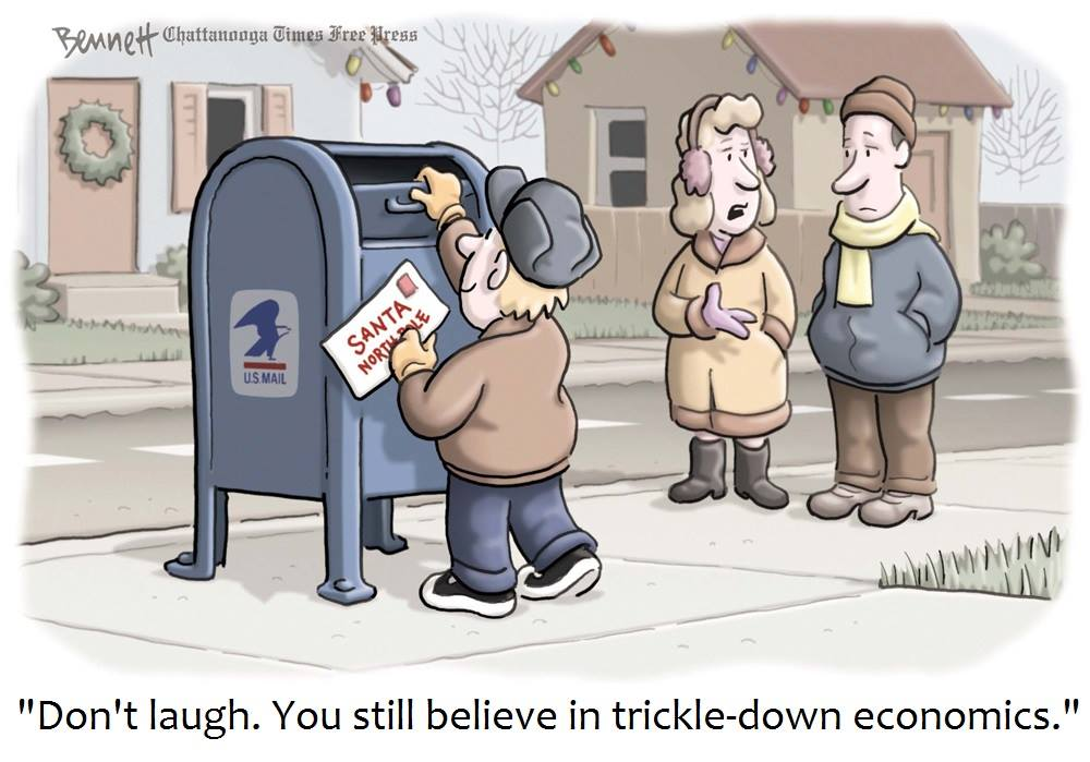 don't laugh, you still believe in trickle down economics, kid mailing letter to santa at the north pole