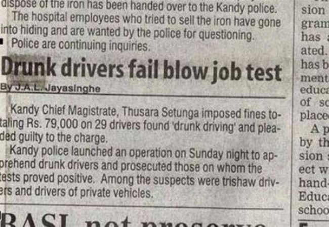 drunk drivers fail blow job test