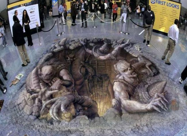 monsters climbing out of the ground, 3d street art