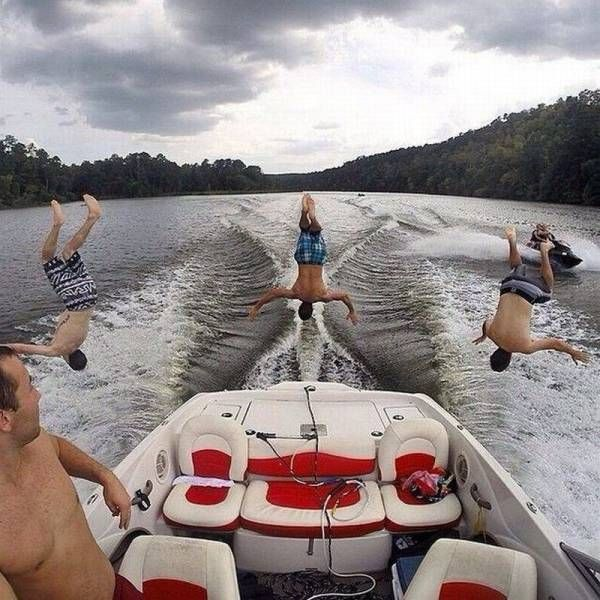 perfectly timed back flip off speed boat