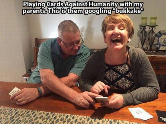 playing cards against humanity with my parents, this is them googling bukkake