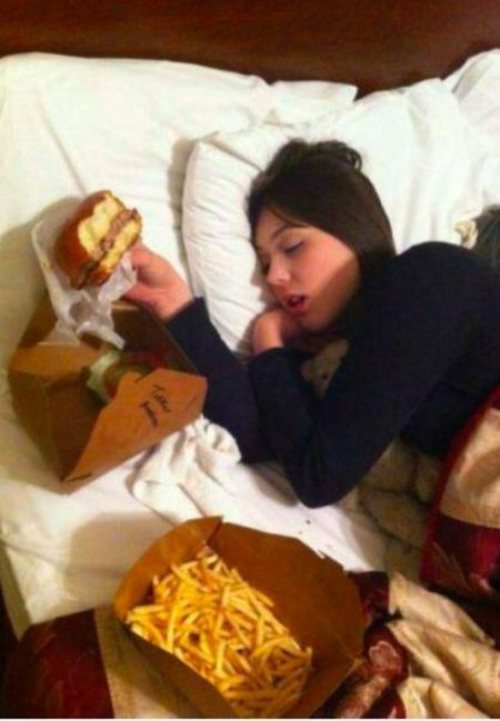 when you fall asleep drunk eating burger and fries
